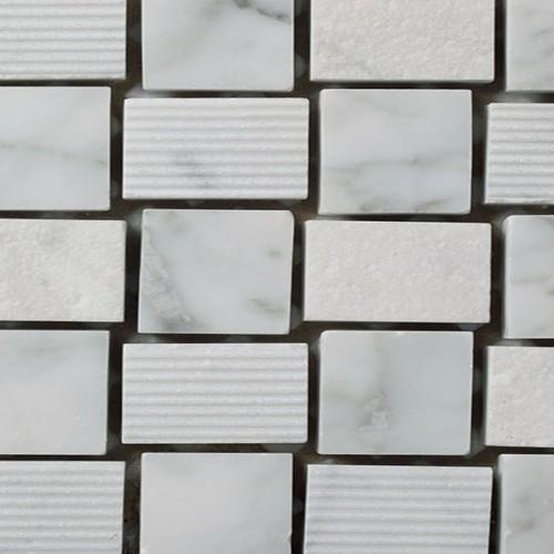 Mosaico Cuadrado Engraved Stone Bianco Carrara - MALLA