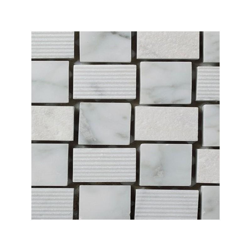 Mosaico Cuadrado Piedra Grabada en Bianco Carrara