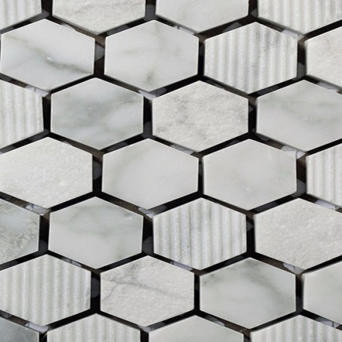 Mosaico Hexagonal Engraved Stone Bianco Carrara - MALLA