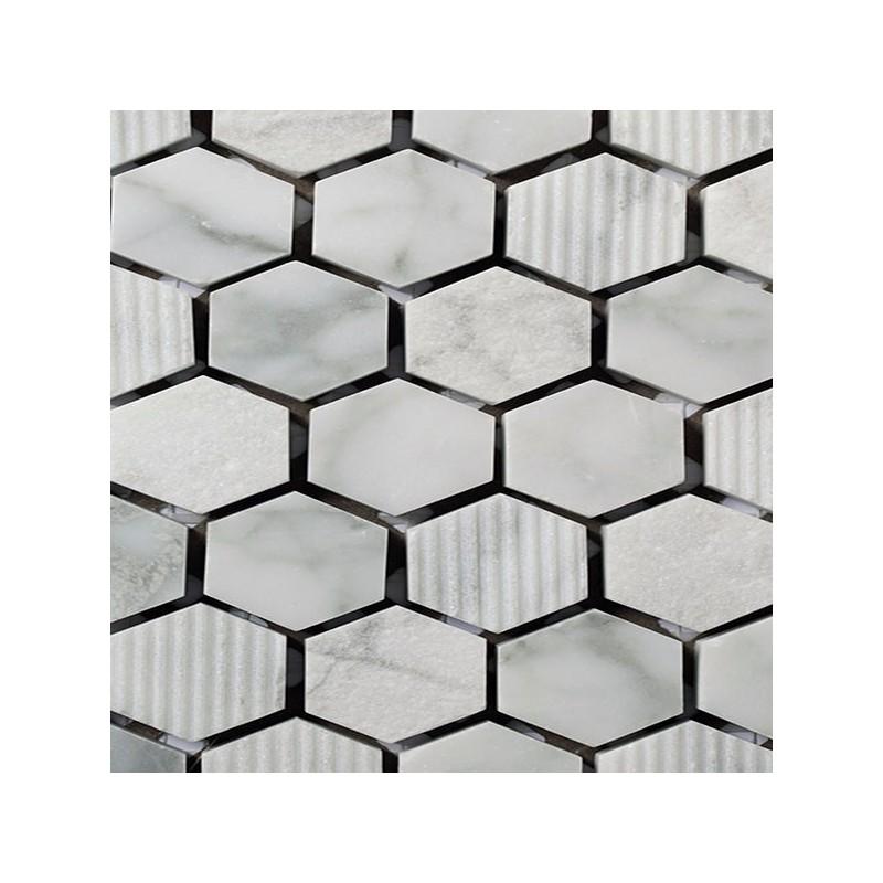 Mosaico Hexagonal Piedra Grabada en Bianco Carrara