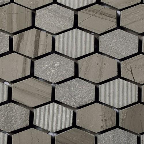 Mosaico Hexagonal Engraved Stone Wooden Moca - MALLA
