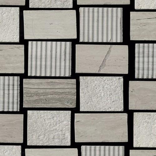 Mosaico Cuadrado Engraved Stone Wooden White - MALLA