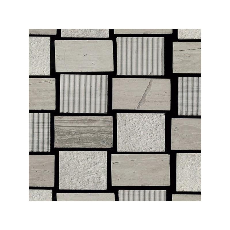Mosaico Cuadrado Piedra Grabada Blanca