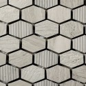 Mosaico Hexagonal Engraved Stone Wooden White - MALLA