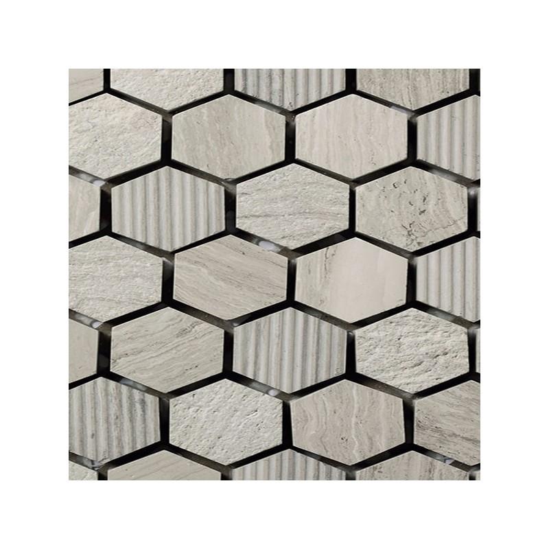 Mosaico Hexagonal Piedra Grabada Blanca