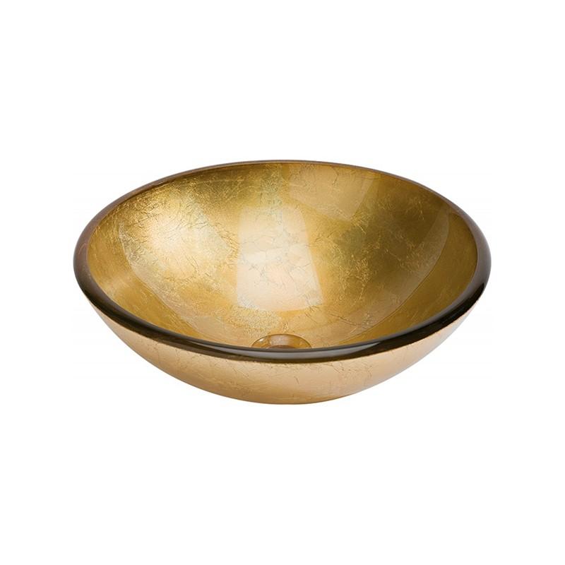 Lavabo de Cristal Redondo Pan de Oro Dune