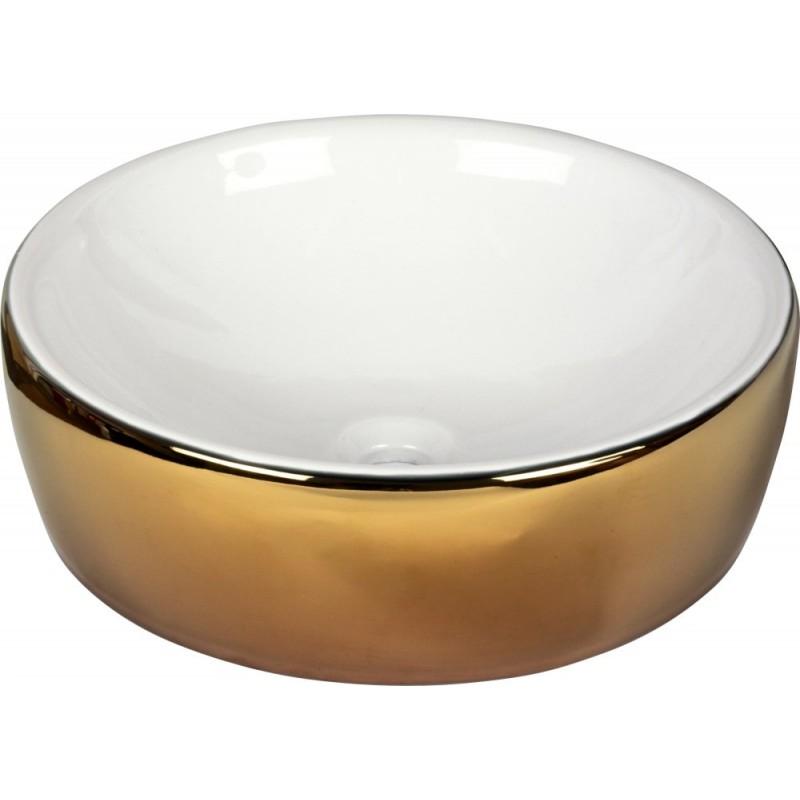 Lavabo de Porcelana Redondo White & Gold Dune