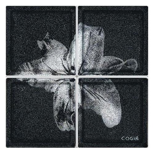 Composición de 4 bloques de vidrio Black Lilium