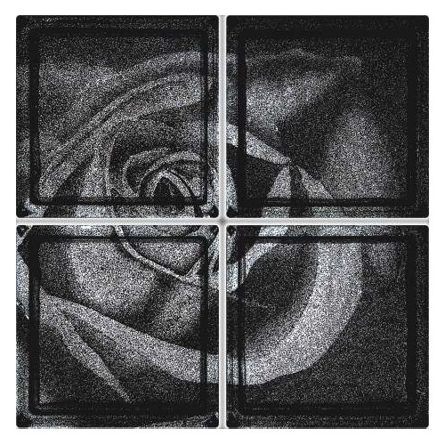 Composición de 4 bloques de vidrio Black Rose
