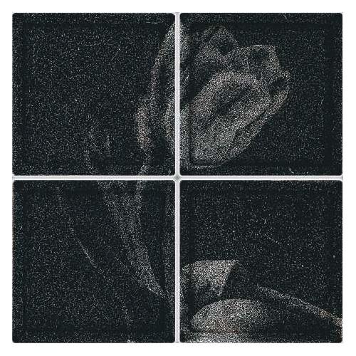 Composición de 4 bloques de vidrio Black Tulip