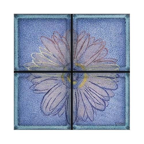 Composición de 4 bloques de vidrio Omaggio a Andy Warhol - Margherita su Fondo Blu