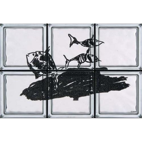Composición de 6 bloques de vidrio Cala Rossa