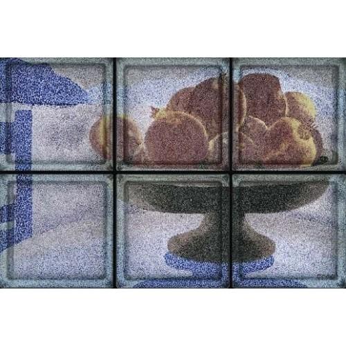 Composición de 6 bloques de vidrio Cesto con Melograni