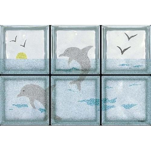 Composición de 6 bloques de vidrio Delfini