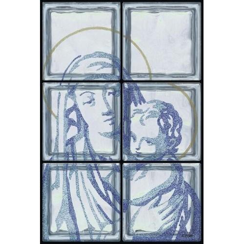 Composición de 6 bloques de vidrio Madonna con Bimbo