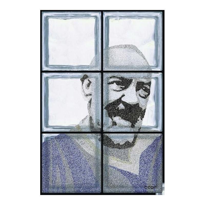Composición de 6 bloques de vidrio Padre Pio