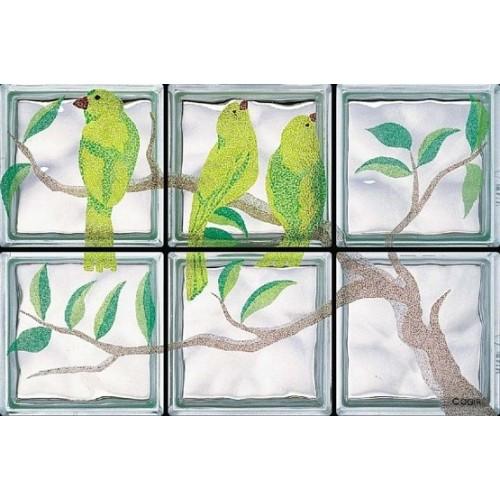 Composición de 6 bloques de vidrio Primavera