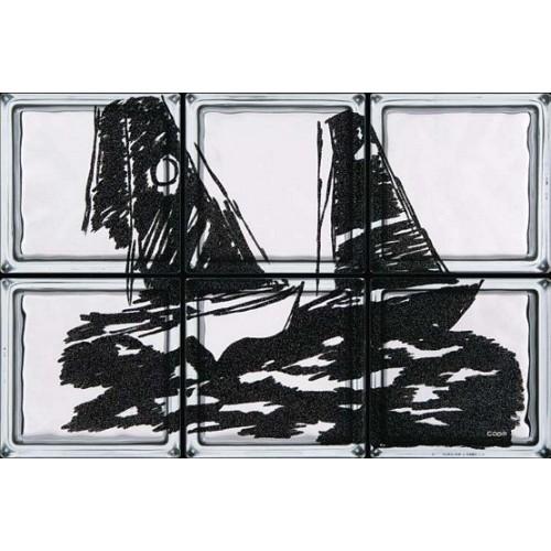 Composición de 6 bloques de vidrio Regata
