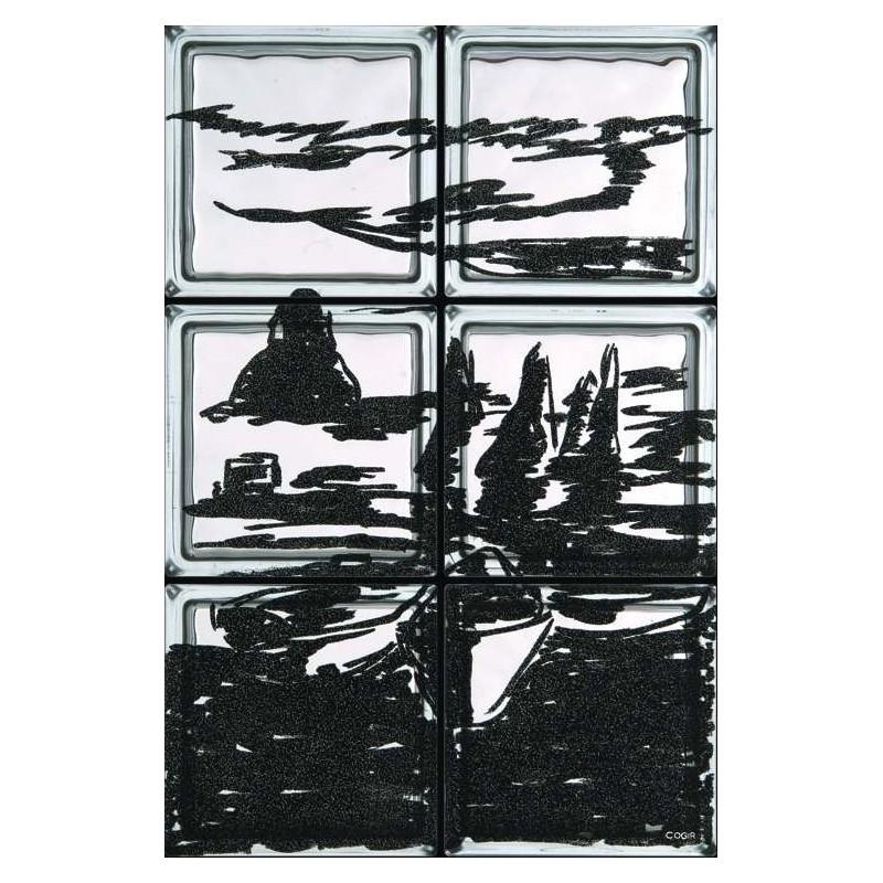 Composición de 6 bloques de vidrio Trezza