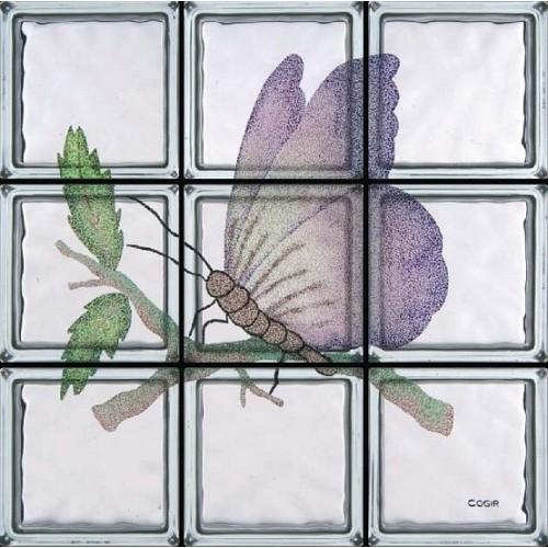 Composición de 9 bloques de vidrio Farfalla Egea
