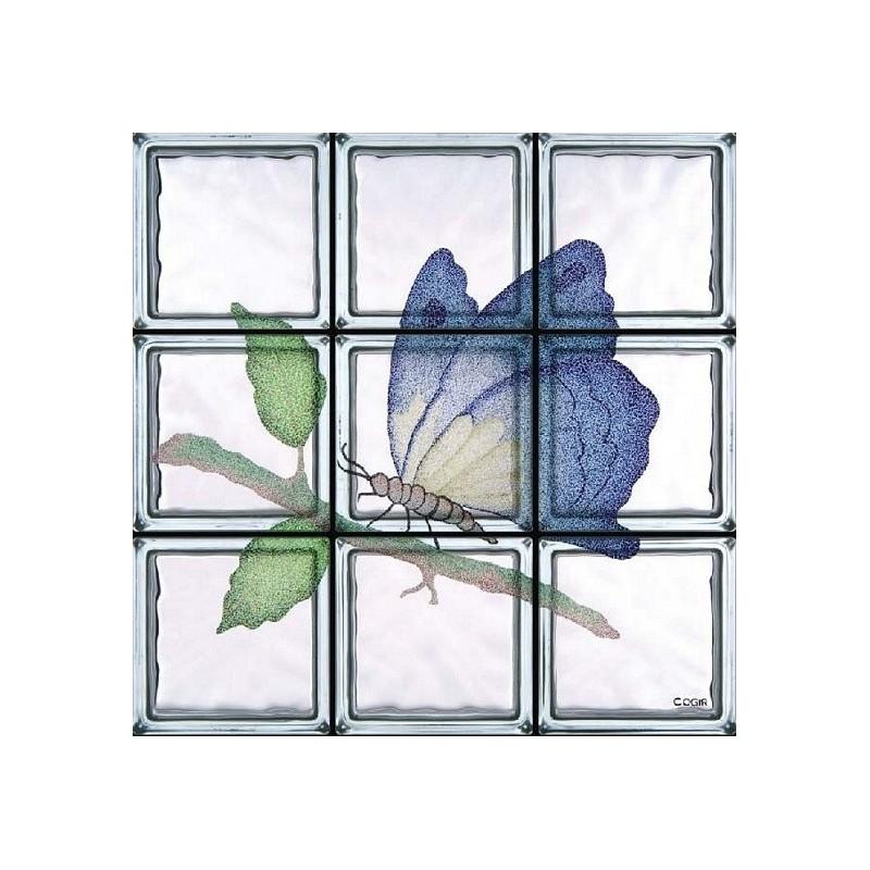 Composición de 9 bloques de vidrio Farfalla Saturnia