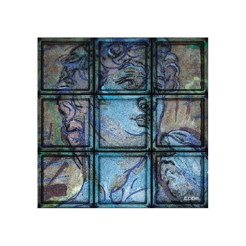 """Composición de 9 bloques de vidrio Omaggio """"David"""" di Michelangelo"""