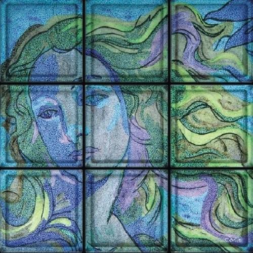 """Composición de 9 bloques de vidrio Omaggio """"Venere"""" di Botticelli"""