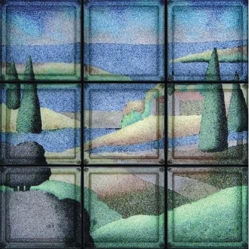 Composición de 9 bloques de vidrio Paesaggio Toscano