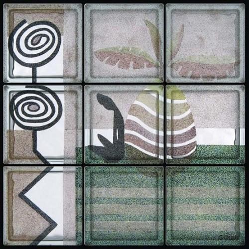 Composición de 9 bloques de vidrio Pensiero Africano