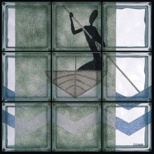Composición de 9 bloques de vidrio Piccolo Pescatore