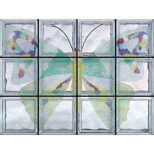 Composición de 12 bloques de vidrio Farfalla Vanessa