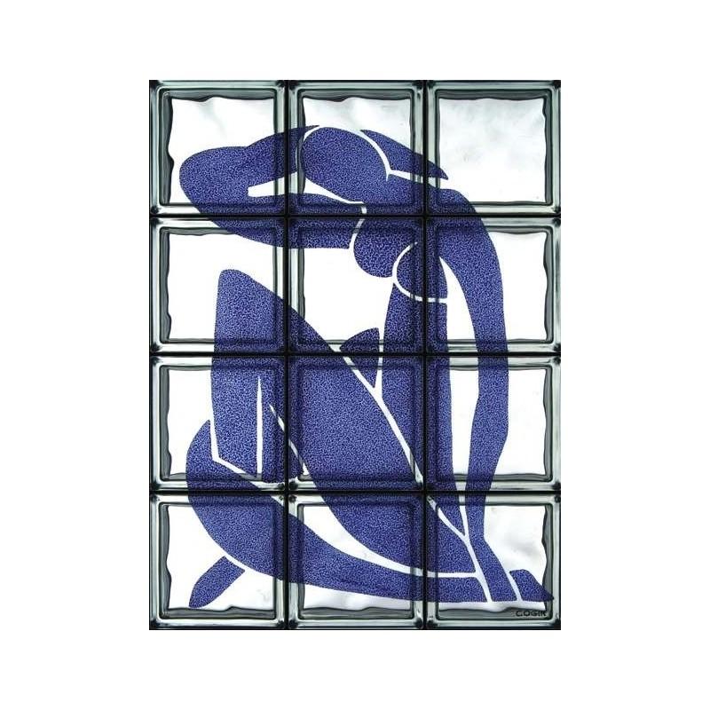 """Composición de 12 bloques de vidrio Omaggio a Matisse """"Nudo Blu"""""""