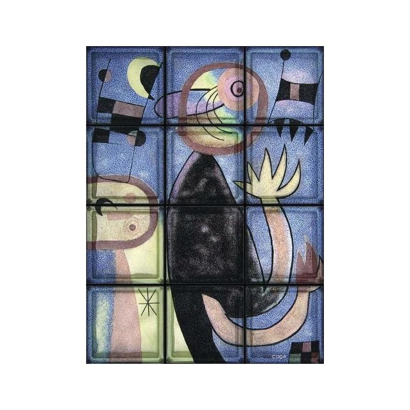 """Composición de 12 bloques de vidrio Omaggio a Miro """"Animal Composition"""""""
