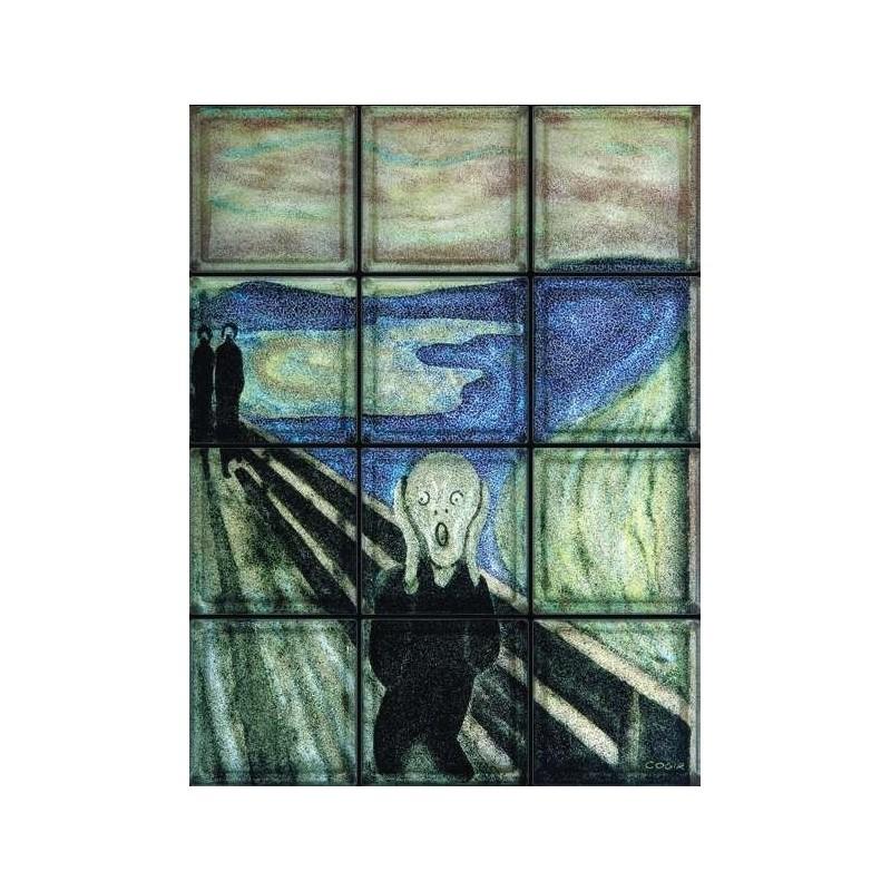"""Composición de 12 bloques de vidrio Omaggio a Munch """"Il Grido"""""""