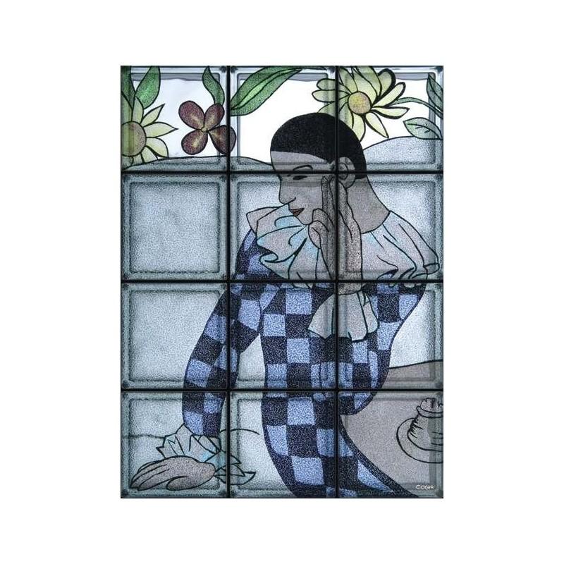 """Composición de 12 bloques de vidrio Omaggio a Picasso """"Arlecchino Pensoso"""""""