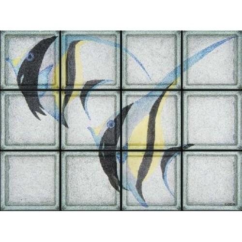 Composición de 12 bloques de vidrio Pesce Scalare