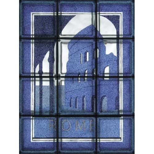 Composición de 12 bloques de vidrio Roma