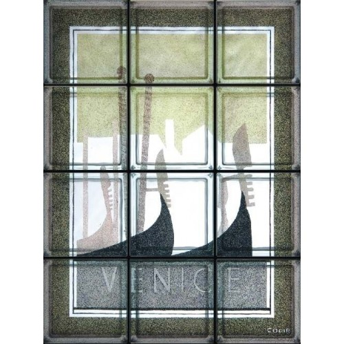Composición de 12 bloques de vidrio Venezia