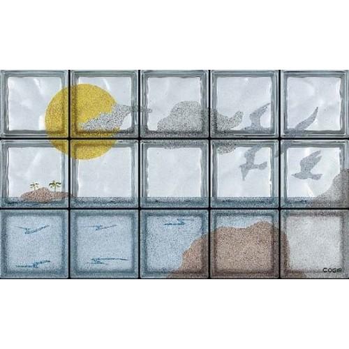 Composición de 15 bloques de vidrio Gabbiani