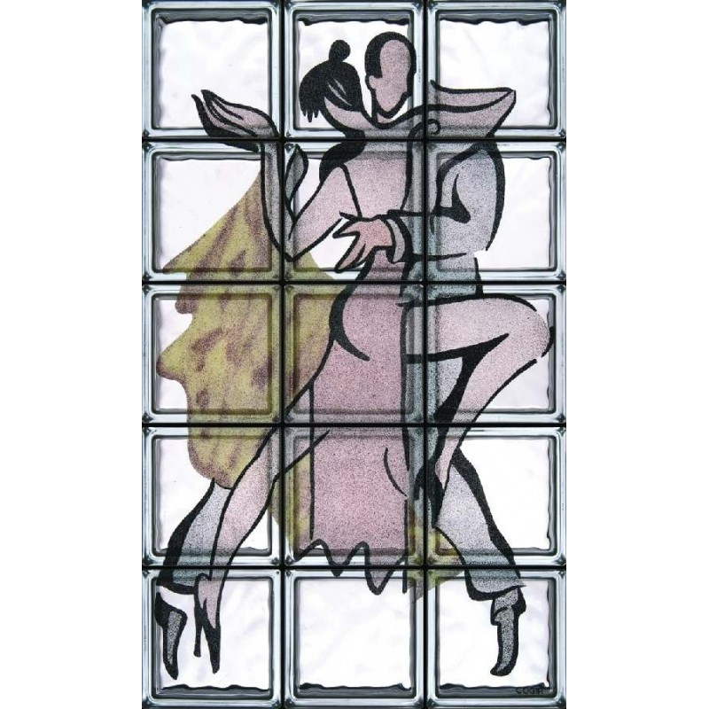 Composición de 15 bloques de vidrio Tango Argentino