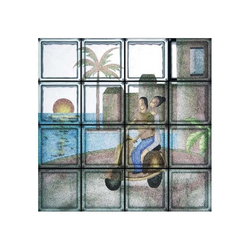 Composición de 16 bloques de vidrio In Vespa