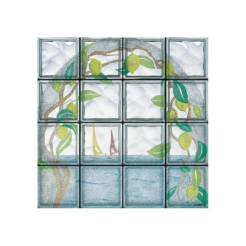 Composición de 16 bloques de vidrio Limoni