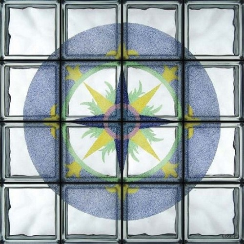 Composición de 16 bloques de vidrio Rosa dei Venti