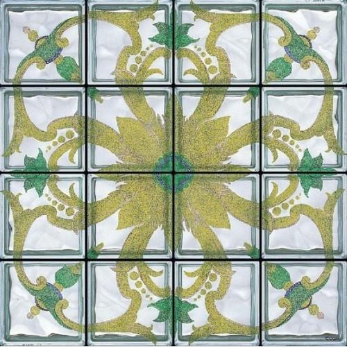 Composición de 16 bloques de vidrio Rosone Palazzo Iacono