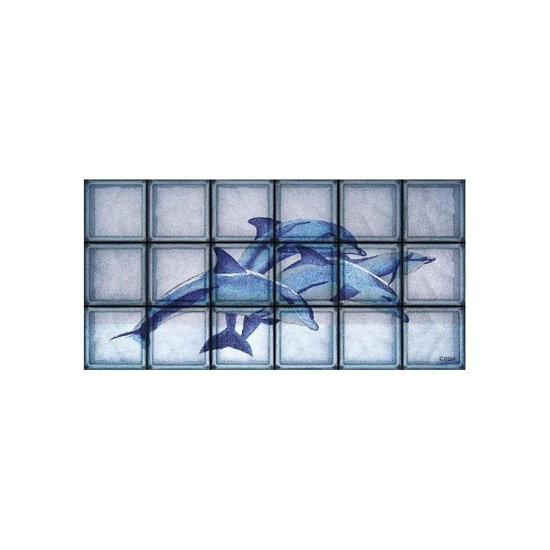 Composición de 18 bloques de vidrio Blue Dolphins