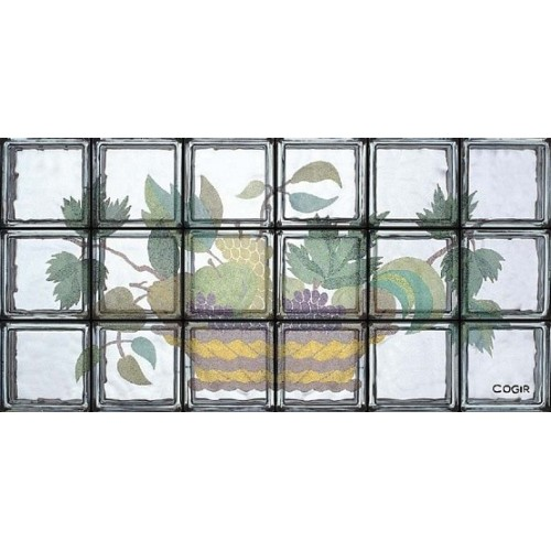 Composición de 18 bloques de vidrio Cesto con Frutta