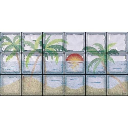 Composición de 18 bloques de vidrio Spiaggia Tropicale