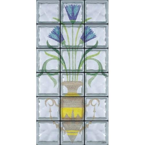Composición de 18 bloques de vidrio Vaso e Fiori