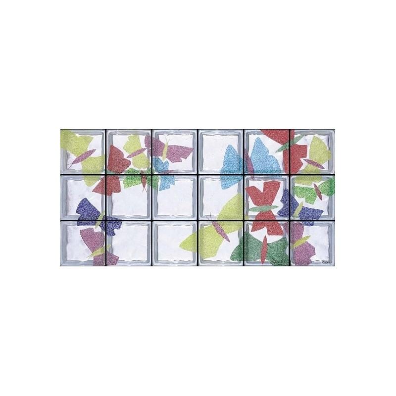 Composición de 18 bloques de vidrio Volo di Farfalle
