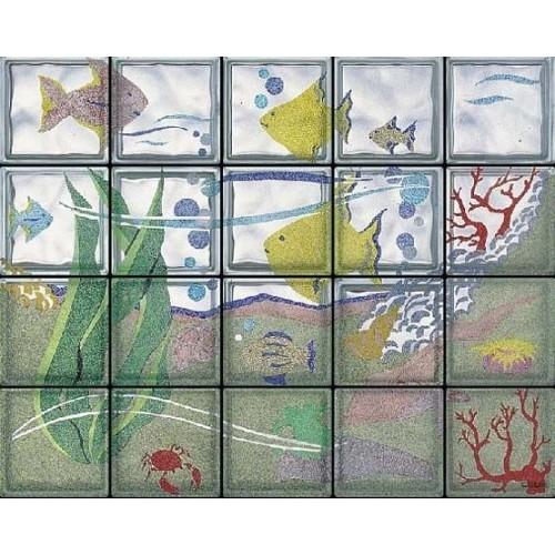 Composición de 20 bloques de vidrio Acquario